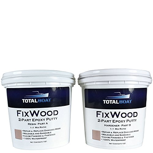 TotalBoat Fixwood | Marine Grade Epoxy Putty | Stainable Paste Filler for Damaged Wood Repair or Replacement (2-Quart Kit)