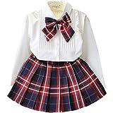 YRINA 女の子 フォーマル スカート 白 ブラウス シャツ 子供服 入園式 入学式 卒園式 発表会 リボン 110〜130cm (110)