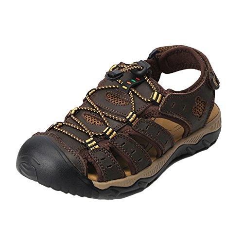 Sandalias Deportivas Hombres Pescador Exterior Senderismo Playa Zapatos Chanclas Transpirable Respirable Sandalia Marron Oscuro 38 EU
