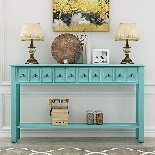 60 inch Long Entryway Table with Storage,JULYFOX Slim Sofa Console Table with Drawers and Shelf Solid Wood Accent Mid Century Table Heavy Duty for Living Room Office Bar-Blue