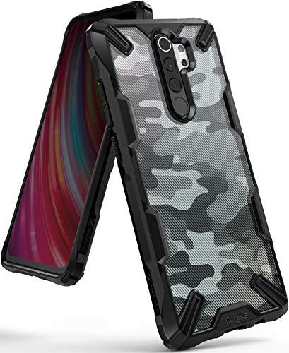 Ringke Fusion-X DDP Designed für Xiaomi Redmi Note 8 Pro Hülle [Camo Black Schwarz] Doppelte Hybrid Schutz vor Militär Muster PC + TPU mit Ketten Loch