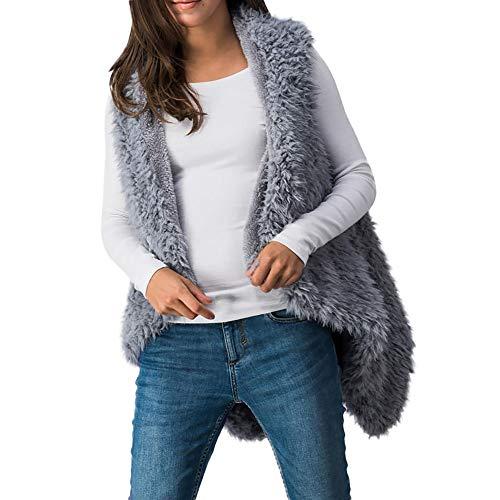 Damen Mantel Weste MYMYG äRmellos Herbst Kariert Trenchcoat Casual Weste Coat Jacket Lose Outwear Winterjacke Outwear Kapuzenjacke(GrauEU:44/CN-3XL)