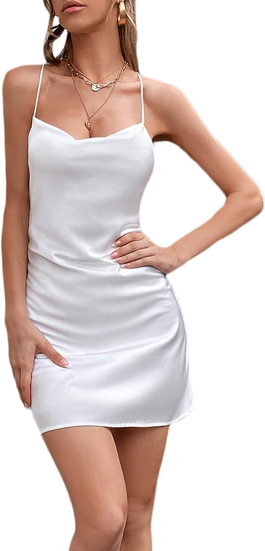 SheIn Women's Cowl Neck Criss Cross Mini Bodycon Dress Sleeveless Backless Short Dresses
