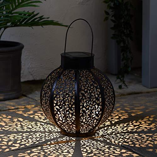 Lights4fun Grande Farol Solar Estilo Marroquí de 24cm con LED Blanco Cálido para Exteriores