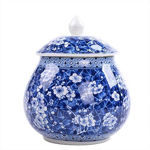 wongwongcat Vorratsdose 900ml, Chinesischer-Stil blaues und weißes Porzellan Keramik Vorratsdose, mit Deckel, Home Küche…