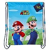 Super Mario Mochila Niño de Cuerdas, Mochila Deporte Saco con Mario Bros y Luigi, Mochila Cuerdas para Gimnasio Viajes Colegio, Regalos Originales para Niños