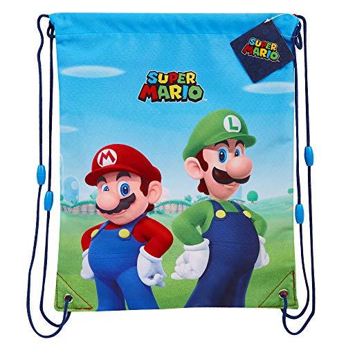 Super Mario Turnbeutel Kinder, Sportbeutel Gym Bag für Jungen und Teenager, Mario Kordelzug Beutel Rucksack, Geschenke für Kinder