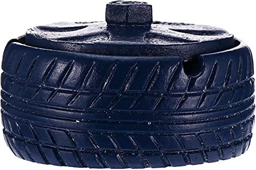 Cinzeiro de cerâmica com tampa em forma de roda Cinzeiro para homem em casa e escritório Cinzeiro de mesa