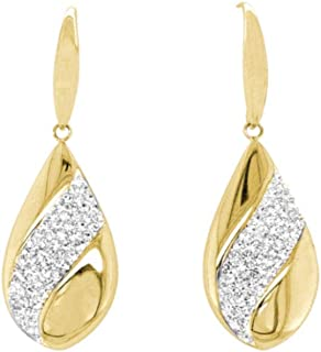 Bevilles Yellow Stainless Steel Pave Crystal Teardrop Earrings Drop