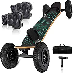 """【Strong Structure】Composite natural core 9-ply Maple laminate deck with fivestar alloy hubs, Inflatable tires offer great strength and unparalleled traction on dirt and all terrain 【Main Parts】12"""" Baking paint trucks x2, 8"""" Inflatable wheels x4, T-to..."""