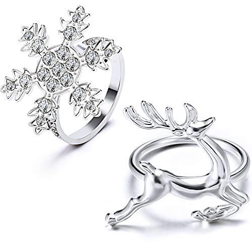 WILLBOND Weihnachten Servietten Ringe Halter für Weihnachten Abendessen Party, Hochzeit Schmuck, Tisch Dekoration Zubehör (Schneeflocke und Hirsch, 12)