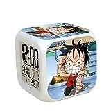Totots Reloj de alarma pequeño luminoso One Piece: Monkey D. Luffy, Lindo Reloj de alarma de calendario de temperatura cuadrada lindo, reloj de alarma para el hogar creativo, reloj despertador perezos