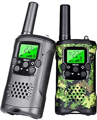 Kids Walkie Talkies, 6 KMs Long Range 22 Channel 2 Way Radio Kids Toys & Handheld Children Walkie Talkie, Best Gifts for Boy & Girls Age 3 4 5 6 7 8 9 for Camping Games Halloween Birthday Gifts, 2pcs