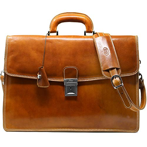 Floto Full Grain Leather Milano Briefcase Attache Laptop Case (Olive (Honey) Brown)