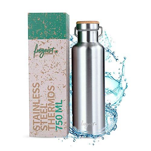 freigeist Edelstahl Thermosflasche 750ml | Outdoor Edelstahl Trinkflasche doppelwandig für Sport, Büro, Wandern