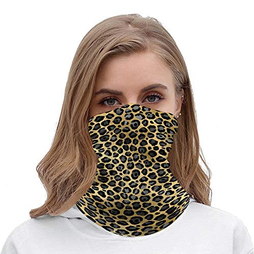 PotteLove Glam Black and Gold Leopard Spots Neck Gaiter Tube Mask Headwear, Seamless Face Cover Mouth Mask Bandanas for Dust, Outdoors, Festivals, Sports