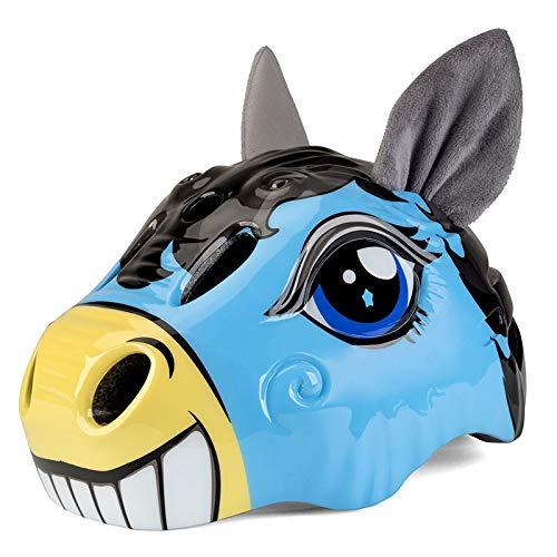 HAHADONG Kinder-Helm, niedlicher Cartoon-Esel-Fahrradhelm, für Jungen und Mädchen im Alter von 5–10 Jahren, verstellbare Multi-Sport-Schutzausrüstung für BMX, Fahrrad, Skateboard, Blau, keine Größe
