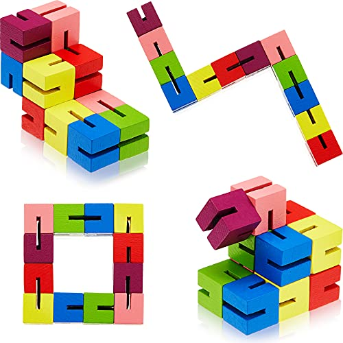 6 Pieces Wooden Twist Cubes Colorful Mind Game Stretch Twist and Lock Brain Teaser Fidget Sensory Toys for Teens Stocking Stuffer and Party Favors for Boys and Girls