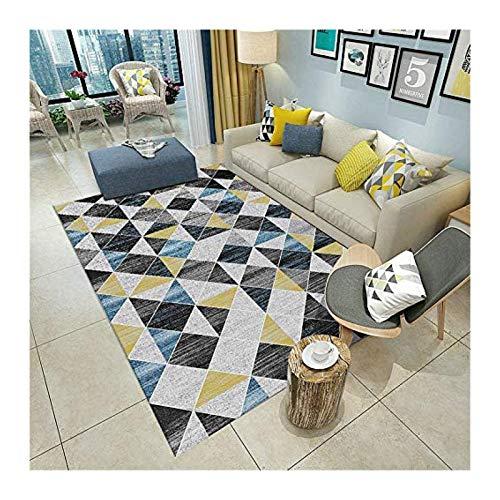 Siunwdiy Gelber blau Grauer Matter Teppich, geometrische abstrakte Musterdesign, antistatisches florales Sofa, moderner Teppichraub-Interieur,140X200cm(55X79inch)