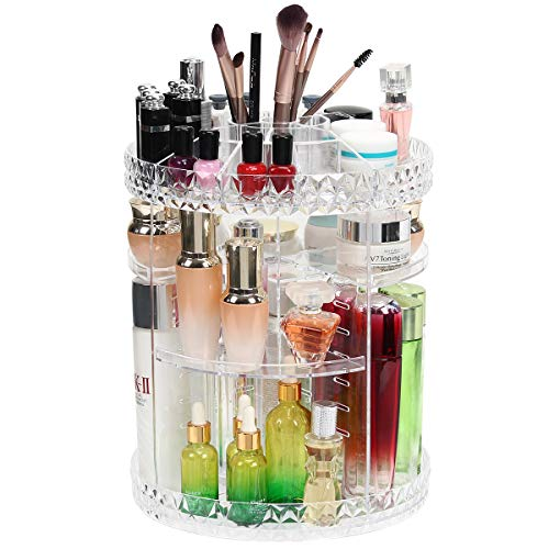 Dawoo Acryl Make Up Organizer, Um 360 Grad Drehbare Verstellbare Kosmetikvitrine Mit 8 Schichten Und Großer Kapazität, Passend Für Schmuck, Make-Up-Pinsel, Lippenstifte Und Mehr (Diamantmuster)
