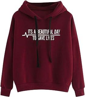 Sceoyche Women's Hoodie Letter Flag Printed Sweatshirt Long Sleeve Pullover Tops Blouse