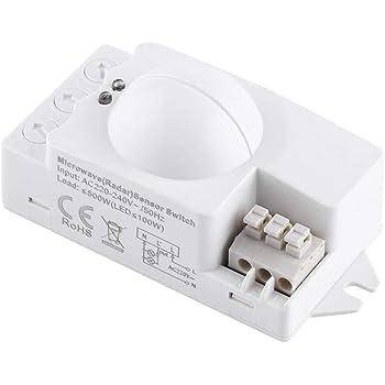 360 Grados 500 W Sensor de Microondas Inteligente Interruptor de Luz Radar de Alta Sensibilidad Detector de Movimiento Closet Baño Garaje Pasillo Escaleras Uso: Amazon.es: Bricolaje y herramientas