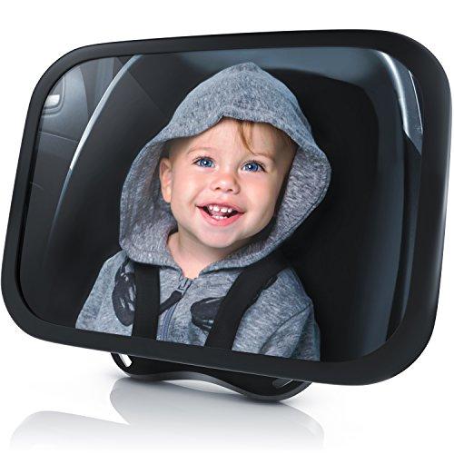 Rücksitzspiegel für Babys - Autositz Spiegel - Spiegel Auto Baby - Rückspiegel für die Babyschale Kinderschale - Auto Spiegel Kindersitz - Sicherheit durch bruchsicheres Matarial - 24.5 x 17.5 cm
