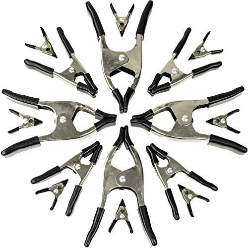 Wellmax Juego de 16 abrazaderas de resorte de metal, clips resistentes para carpintería y fondos, 8 piezas de 5 cm, 4 piezas de 10 cm y 4 piezas de 15 cm