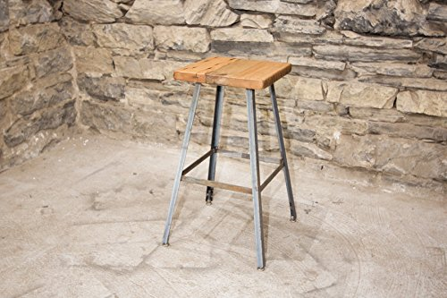 The Basic Brew Bar Stool or Counter Stool with Reclaimed Wood Seat and Industrial Base