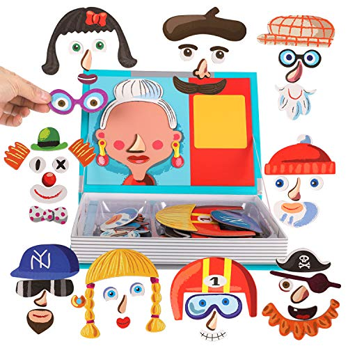 Magnetic Puzzle Book for Kids Imagination Play   Mix and Match Game with Travel Storage Case (Silly Faces)