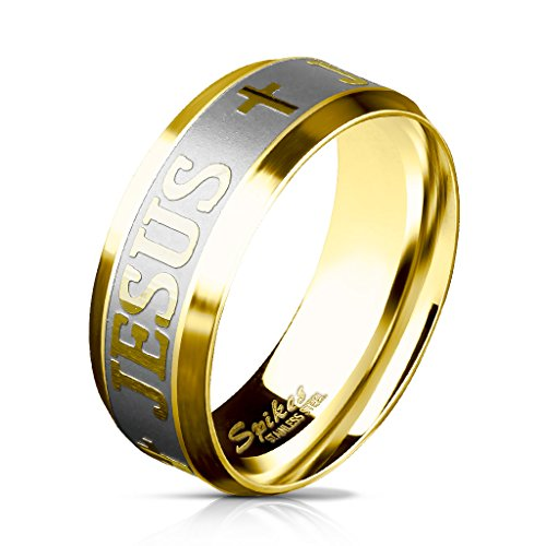 Paula & Fritz® gebürsteter Edelstahl Damen-Ring Verlobungs-Ring Freundschaftsring Herrenring Partnerring Jesus Kreuz Gravur Gold R-M5870G 57 (18)