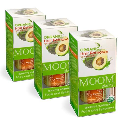 MOOM Organic Sugar Facial Hair Remover Glaze with Avocado Oil & Lemon Juice for Lip Face & Eyebrow- Wax Kit - 18 Waxing Strips & 6 Wooden Sticks for Application 3 oz. - 3 Pack