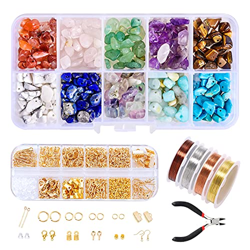 Kit de Accesorios de Joyería, Kit de Hacer Bisutería alambre para abalorios de joyería con herramientas de joyería piedras preciosas naturales para collar, pulsera, pendientes, hacer suministros
