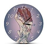 guijinpeng Mujer Hermosa Joven con Tatuaje Reloj de Pared Sexy Tatuajes de Cuerpo Tatted Back Silent Quartz Wall Clock Tattoo Studio Sign diseño de Madera silenciosa