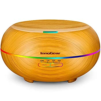 InnoGear Diffusers for Essential Oils 500ml Wood Grain Essential Oil Diffuser Ultrasonice Aromatherapy Diffusers Aroma Cool Mist Humidifier with Timer Waterless Auto Off Large Yellow