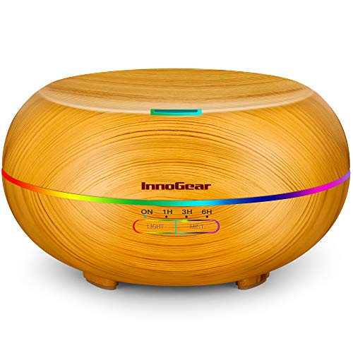 InnoGear Diffusers for Essential Oils, 500ml Wood Grain Essential Oil Diffuser Ultrasonice Aromatherapy Diffusers Aroma Cool Mist Humidifier with Timer Waterless Auto Off, Large, Yellow