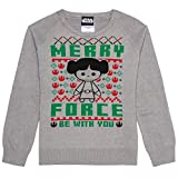 Hybrid Apparel Junior's Star Wars Leia Merry Force Holiday Sweater, n, XL