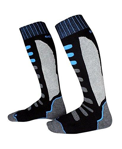 Barrageon Calcetines de Esquí de Invierno Térmico Calientes para Esquiar, Snowboard, Ciclismo, Trekking Control Humedad Anti-Odor Anti-Bacteriano para Infantiles Niños Negro/Azul(EU 35-38)