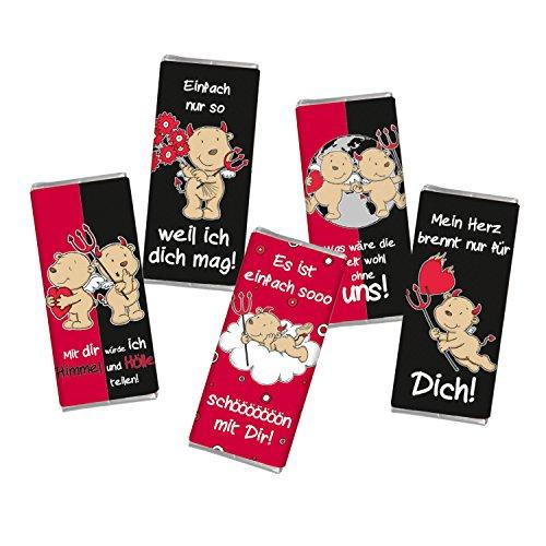 5 mal Mini Schokolade LIEBE ENGEL & TEUFEL STEINBECK Vollmilch Schokolade Tafel 5er Set Geschenk süß Mitgebsel Herzen rot Liebe Valentinstag Jahrestag Männer Schatz