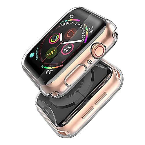 Misxi 2-Stück für Apple Watch Serie 6 / SE/Series 5 / Series 4 Hülle Mit Bildschirmschutz 40mm, R&um Schutzhülle HD Superdünne Schutz Hülle für iWatch (2 Transparente)