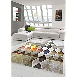 Designer living room rug Contemporary rug Rug low pile carpet with contour cut diamond pattern Multi color Orange Green Brown size 80x150 cm:Abra-sua-mei
