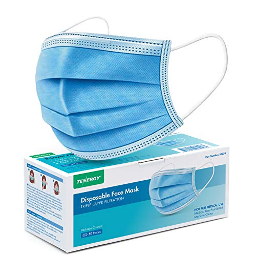 Tenergy Triple-layer Filtration Disposable Face Masks with Nose Clip and Ear Loops, 50-Pack