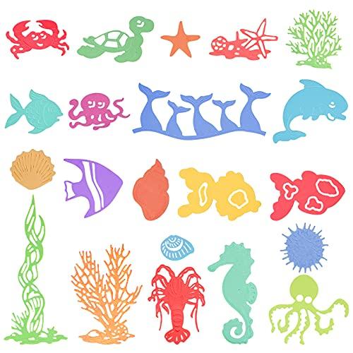 20 Pieces Metal Ocean Die Cuts Sea Life Stencils Shells Fish Seaweed Seahorse Lobster Mermaid Turtle Cutting Dies Ocean Creatures Stencils Embossing Dies for DIY Crafts Scrapbook Card Making