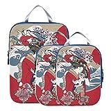 Accesorios de viaje para equipaje Geisha de dibujos animados lindo con juego de cubos de embalaje de viaje de Japón Cubos de embalaje expandibles comprimibles para equipaje de mano, viajes (juego de
