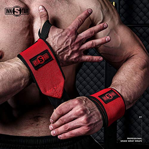 INNSTAR Wrist Wraps Wrist Support Braces for Gym Workout Power Lifting Weightlifting Bench Press Crossfit with Guide Book and Carry Bag (Pair) (Red, 19'')