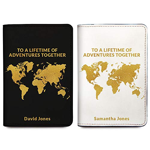 His & Her Personalized RFID Passport Holder Cover - Wedding Gift - Set of 2