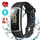 CHEREEKI Fitness Tracker, Orologio Fitness Braccialetto Pressione Sanguigna Cardiofrequenzimetro da Polso Impermeabile IP68 Smartwatch Contapassi Calorie Corsa Sport Watch (Nero)