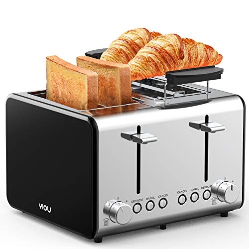 YIOU Toaster 4 Slice, Stainless Steel 4 Slice Toaster with Warming Rack 1.5 Inch Extra Wide Slots 6 Browning Setting Bagel Toaster Reheat Defrost Cancel Function Removable Crumb Tray, Black