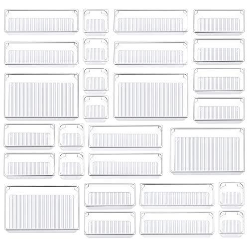 Kootek 28 Pcs Desk Drawer Organizer Tray with 4 Different Sizes, Customize Layout Storage Box Drawer Tray Dividers Organizers Versatile Storage Bins for Kitchen Bathroom Dresser Office