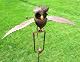Big Sky Antiques Wing Flapping Kinetic Metal Brown Owl Yard Stake Rocking Wind Spinner Whirly-Gig Garden Art